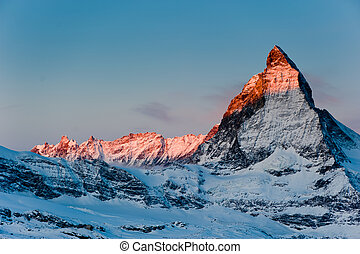 matterhorn at sunrise - matterhorn mountain at sunrise, view...