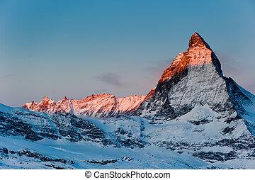 matterhorn at sunrise - matterhorn mountain at sunrise, view...