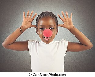 Grimace little girl - Little girl makes grimace with red...