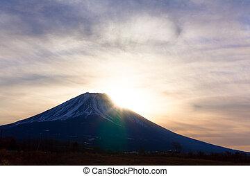 Fuji, felmegy, árnykép