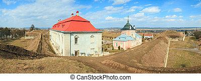 Panorama Zolochiv castle view (Ukraine) - Spring panorama...