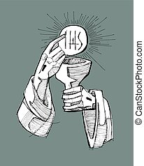 Eucharist - Hand drawn vector illustration or drawing of...
