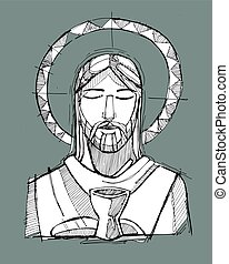 Jesus Christ Eucharist - Hand drawn vector illustration or...