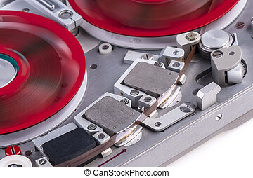 Reel to reel audio tape recorder mc 2 - Medium close shot of...