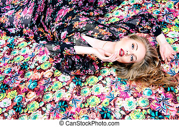 rich blonde - Fashion shot of a beautiful sensual woman with...