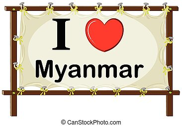 Myanmar - I love Myanmar sign in wooden frame