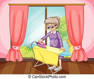 Grandmother - Old female standing and ironing yellow cloth...