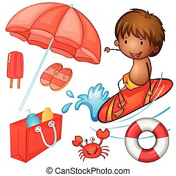 Color set - Set of red color items with beach theme
