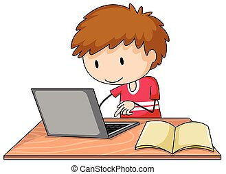 Assignment - Boy working on his laptop with a book lying...