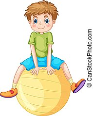 Boy and ball - Little boy sitting on a yellow ball