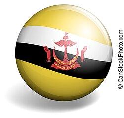 Brunei flag on round button