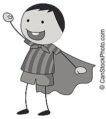 Role play - Boy in a role play wearing cape in black and...