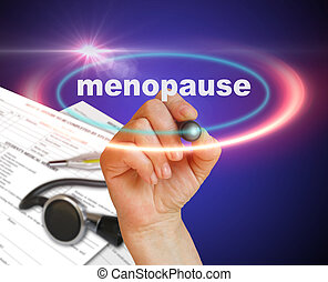 Menopause - writing word MENOPAUSE with marker on gradient...