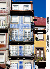 house with azulejos tiles, Porto, Douro Province, Portugal