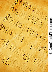 Old music sheet - Closeup of a vintage music sheet with...