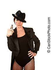 Pretty Woman with Handgun - Pretty woman in fishnet...