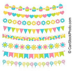 Set of multicolored flat buntings garlands flags isolated on...