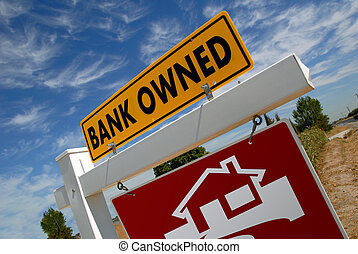 Home Foreclosure Sign - For Sale Real Estate Sign With Bank...