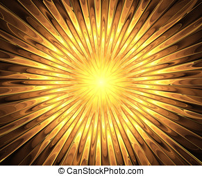 Fractal sun and rays. A high resolution, computer generated,...