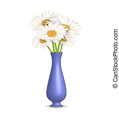 Chamomiles in vase isolated on white