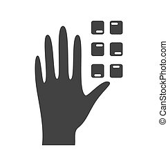 Disability pictogram braille flat icon hand isolated on...
