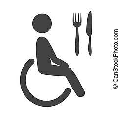 Disability man pictogram flat icon cafe isolated on white...