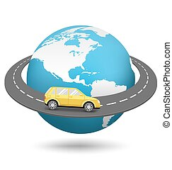 Globe with Road Around the World and Car Isolated on White