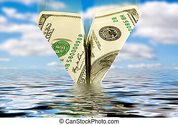 finances crisis. money plane wreck - finances crisis....