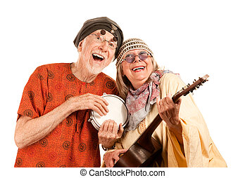 Funny New Age Couple - Funny New Age Senior Couple of...