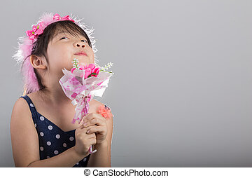 Child Holding Flowers Background / Girl with Flowers Background