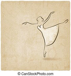ballerina dancing studio symbol old background - vector...
