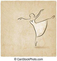 ballerina dancing studio symbol old background - vector...