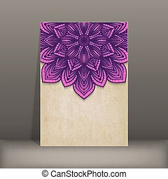 grunge paper card with purple floral circular pattern