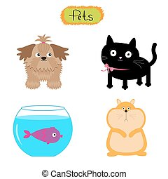 Vector pets illustration isolated Cute set White background...