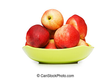 Red nectarines isolated on the white background