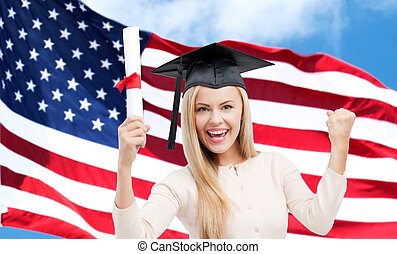 happy student girl with diploma over american flag -...
