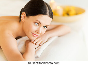 woman in spa - picture of woman in spa salon lying on the...