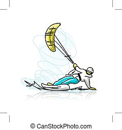 Kite surfer on snowboard, sketch for your design. Vector...