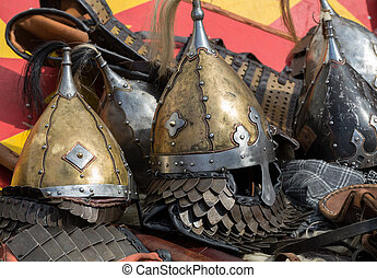 Knight camp during the traditional Medieval festival -...
