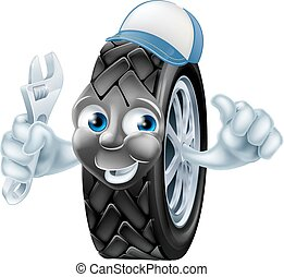 Tire mechanic cartoon character - Happy tire mechanic...