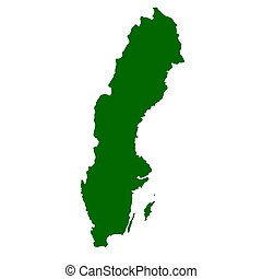 Sweden - Map of Sweden isolated on white background