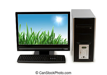 Computer with flat screen isolated on white