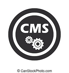 Round black CMS settings sign - Text CMS with gears in...
