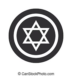 Round black Star David sign - Star of David symbol in...