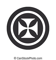 Round black maltese cross sign - Image of maltese cross in...