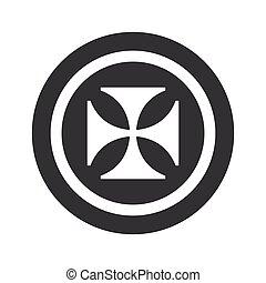 Round black maltese cross sign - Image of maltese cross in...