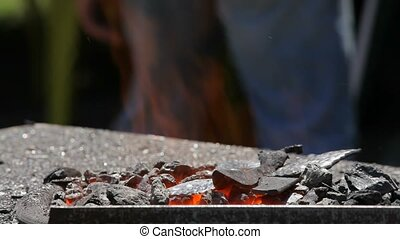 Forge With Hot Faring Coal - Blacksmith's furnace burning...