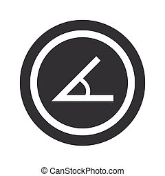 Round black angle sign - Image of angle in circle, on black...