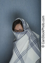 Woman Covering Her Face - Portrait of a woman in glasses...