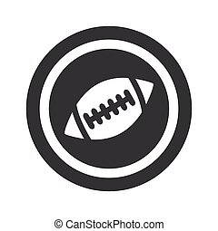 Round black rugby sign - Image of rugby ball in circle, on...